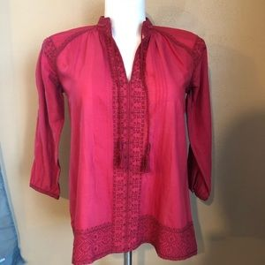 Madewell Red Camellia Embroidered Boho Top